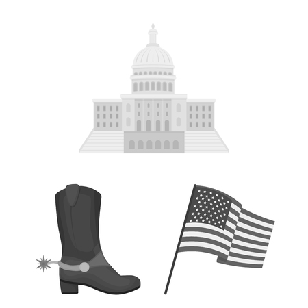 USA country monochrome icons in set collection for design.Travel and attractions bitmap symbol stock web illustration.