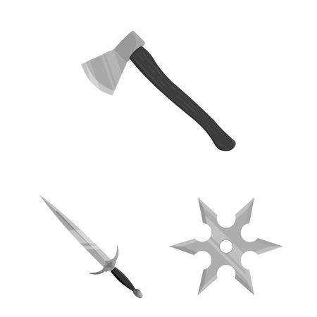 Types of weapons monochrome icons in set collection for design.Firearms and bladed weapons bitmap symbol stock web illustration.