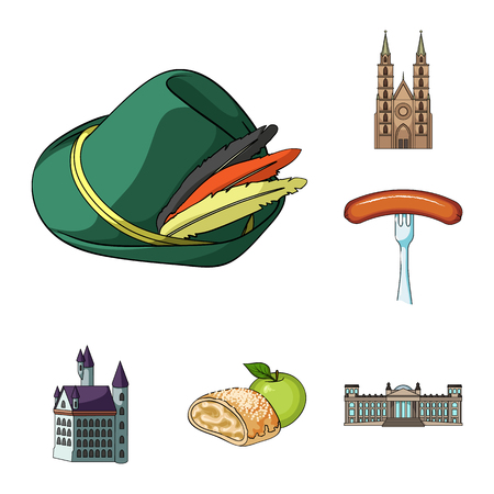 Country Germany cartoon icons in set collection for design. Germany and landmark bitmap symbol stock web illustration.