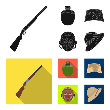 Hunting rifle, flask in the case, map, African mask. African safari set collection icons in black, flat style bitmap symbol stock illustration web.