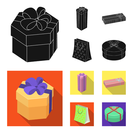 Gift box with bow, gift bag.Gifts and certificates set collection icons in black, flat style bitmap symbol stock illustration web.