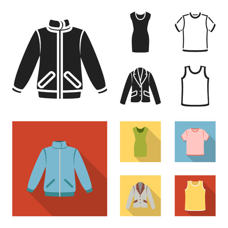 A mans jacket, a tunic, a T-shirt, a business suit. Clothes set collection icons in black, flat style bitmap symbol stock illustration web.