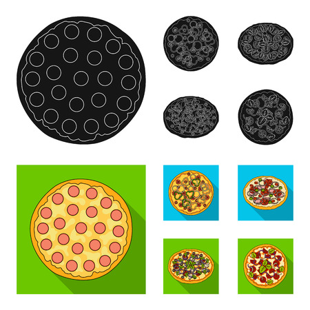 Pizza with meat, cheese and other filling. Different pizza set collection icons in black, flat style bitmap symbol stock illustration web.