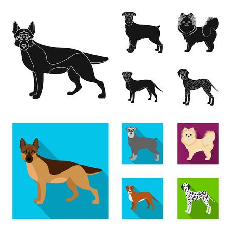 Dog breeds black, flat icons in set collection for design.Dog pet bitmap symbol stock web illustration. Stock Photo