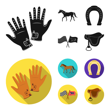 Race, track, horse, animal .Hippodrome and horse set collection icons in black, flat style bitmap symbol stock illustration web.