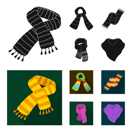 Various kinds of scarves, scarves and shawls. Scarves and shawls set collection icons in black, flat style bitmap symbol stock illustration web.