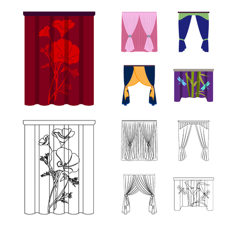 Cornices, garters, ribbon and other  icon in cartoon,outline style.Machine, textiles, furniture icons in set collection.