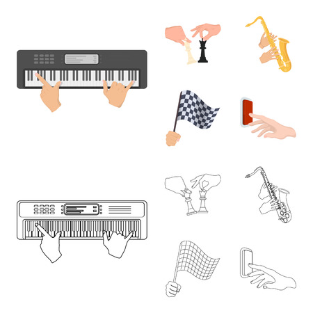 Playing on an electric musical instrument, manipulation with chess pieces and other  icon in cartoon,outline style. playing on a gold saxophone, checkered flag of auto racing in hand icons in set collection.