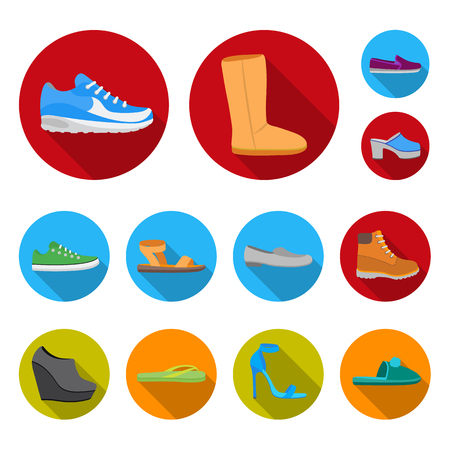 A variety of shoes flat icons in set collection for design. Boot, sneakers bitmap symbol stock  illustration.