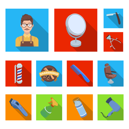 Barbershop and equipment flat icons in set collection for design. Haircut and shave bitmap symbol stock  illustration. Banque d'images