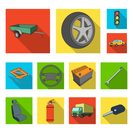Car, vehicle flat icons in set collection for design. Car and equipment bitmap symbol stock  illustration. Stock Photo