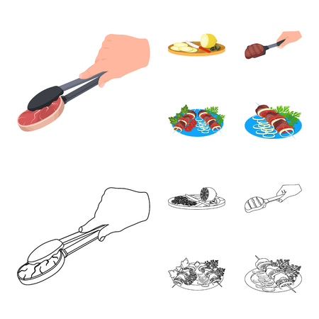 Tongs with steak, fried meat on a scoop, slicing lemon and olives, shish kebab on a plate with vegetables. Food and Cooking set collection icons in cartoon,outline style bitmap symbol stock illustration . Stock Photo