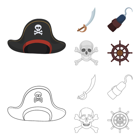 Pirate, bandit, cap, hook .Pirates set collection icons in cartoon,outline style bitmap symbol stock illustration . Stock Photo