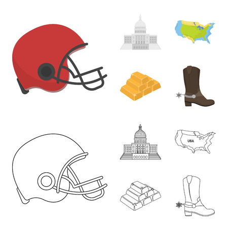 Football player helmet, capitol, territory map, gold and foreign exchange. USA country set collection icons in cartoon,outline style bitmap symbol stock illustration .