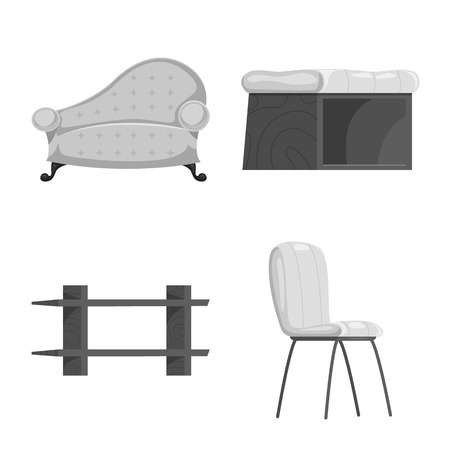 Vector illustration of furniture and apartment sign. Collection of furniture and home stock vector illustration.