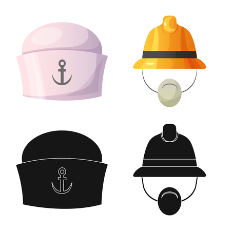 Vector illustration of headgear and cap icon. Collection of headgear and headwear stock symbol for web.