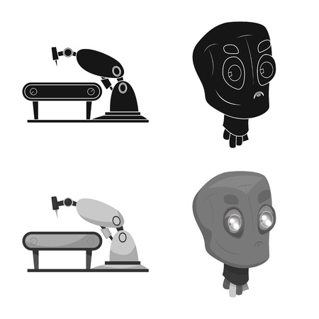 Isolated object of robot and factory sign. Collection of robot and space stock symbol for web. Ilustración de vector