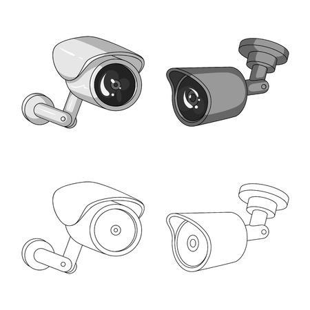 Vector illustration of cctv and camera symbol. Set of cctv and system stock vector illustration. 向量圖像