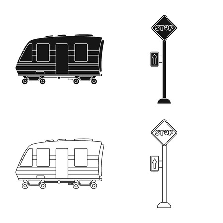 Isolated object of train and station logo. Collection of train and ticket vector icon for stock.