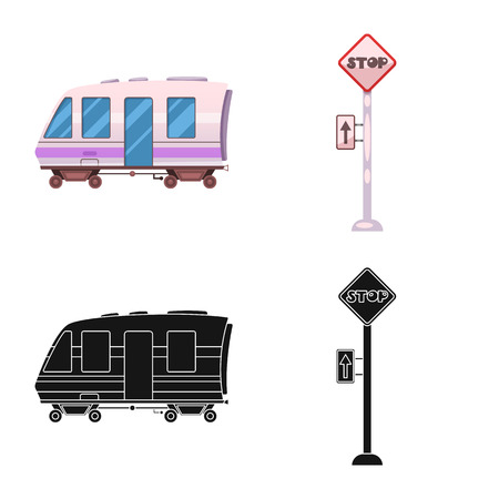 Vector design of train and station logo. Collection of train and ticket stock symbol for web.