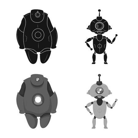 Vector design of robot and factory icon. Set of robot and space stock vector illustration.