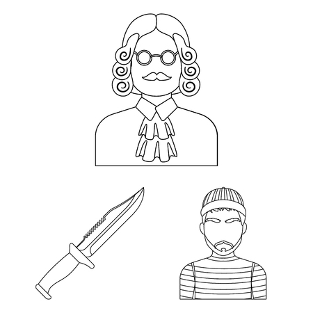 Prison and the criminaloutline icons in set collection for design.Prison and Attributes bitmap symbol stock web illustration. Stok Fotoğraf