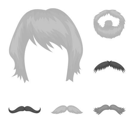 Mustache and beard, hairstyles monochrome icons in set collection for design. Stylish haircut bitmap symbol stock web illustration.