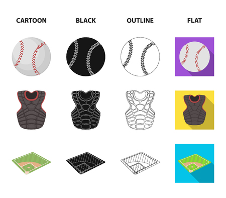 Playground, jacket, ball, protective vest. Baseball set collection icons in cartoon,black,outline,flat style bitmap symbol stock illustration web.