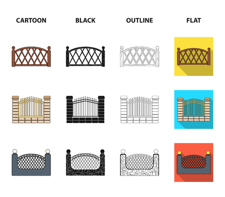 A fence of metal and bricks,wooden palisade. A different fence set collection icons in cartoon,black,outline,flat style bitmap symbol stock illustration web.