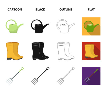 Basket wicker, watering can for irrigation, rubber boots, forks. Farm and gardening set collection icons in cartoon,black,outline,flat style bitmap symbol stock illustration web. Banco de Imagens
