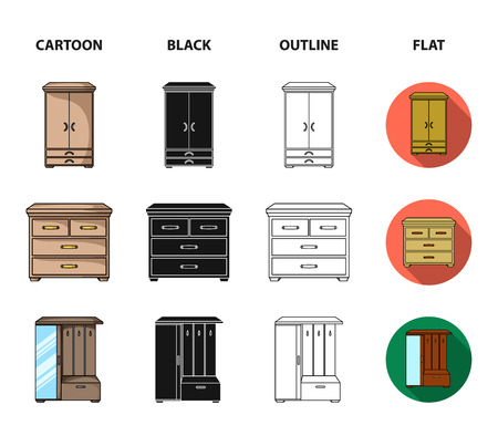 Armchair, cabinet, bedside, table .Furniture and home interiorset collection icons in cartoon,black,outline,flat style bitmap symbol stock illustration web. Stock Illustration - 110263556