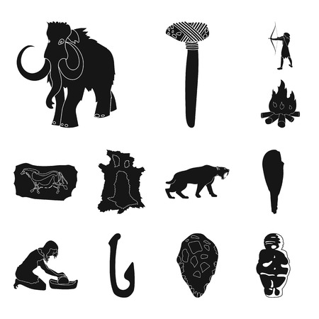 Life in the Stone Age black icons in set collection for design. Ancient people bitmap symbol stock web illustration.