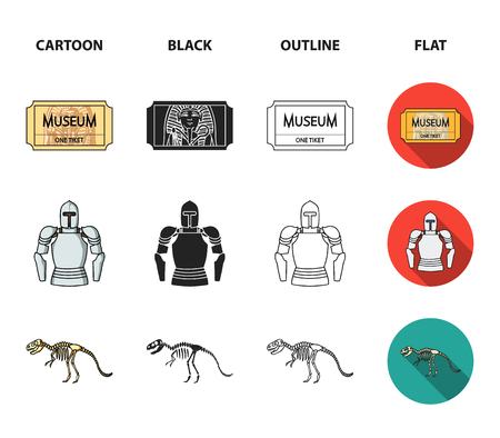 Picture, sarcophagus of the pharaoh, walkie-talkie, crown. Museum set collection icons in cartoon,black,outline,flat style bitmap symbol stock illustration web.