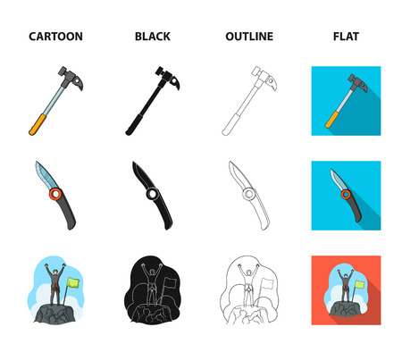 Climber on conquered top, coil of rope, knife, hammer.Mountaineering set collection icons in cartoon,black,outline,flat style bitmap symbol stock illustration web.