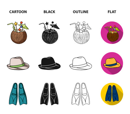 Swimming trunks, cocktail with coconut, panama and flippers. Surfing set collection icons in cartoon,black,outline,flat style bitmap symbol stock illustration web.