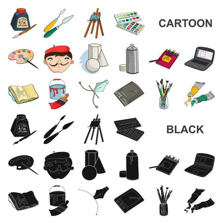 Painter and drawing cartoon icons in set collection for design. Artistic accessories vector symbol stock illustration.
