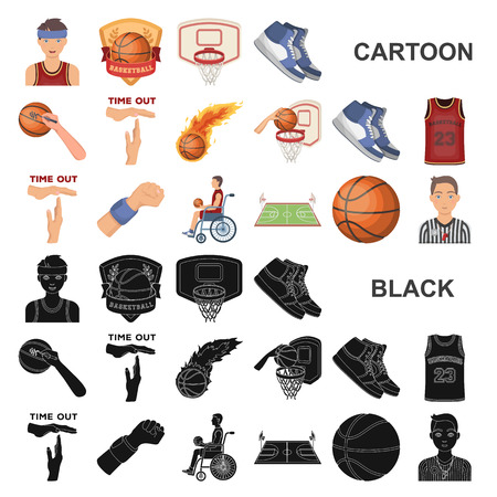 Basketball and attributes cartoon icons in set collection for design.Basketball player and equipment vector symbol stock  illustration. Vettoriali