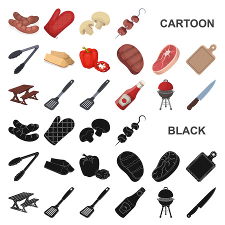 Barbecue and equipment cartoon icons in set collection for design. Picnic and fried food vector symbol stock  illustration. Illustration