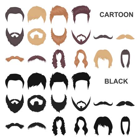 Moustache et barbe, icônes de dessin animé de coiffures dans la collection de jeu pour la conception. Illustration stock de symbole de vecteur de coupe de cheveux élégant.