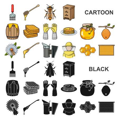 Rucher et apiculture cartoon icons in set collection for design.Equipement et production de miel symbole vecteur illustration de stock.