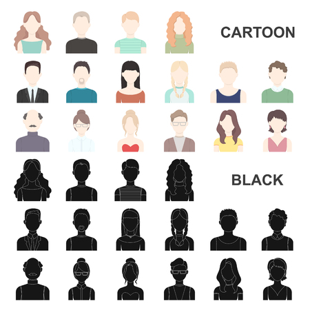 Avatar and face cartoon icons in set collection for design. A person appearance vector symbol stock illustration.