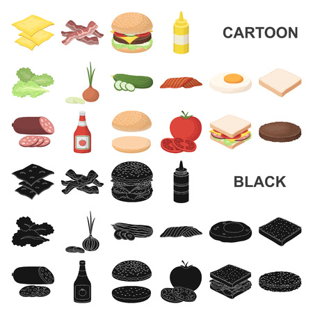 Burger and ingredients cartoon icons in set collection for design. Burger cooking vector symbol stock  illustration. Vettoriali