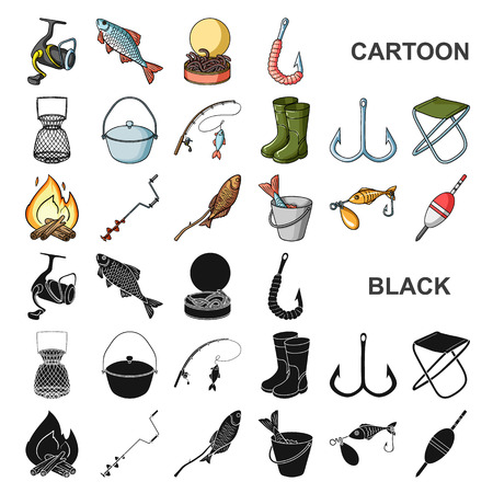 Fishing and rest cartoon icons in set collection for design. Tackle for fishing vector symbol stock  illustration. Ilustrace