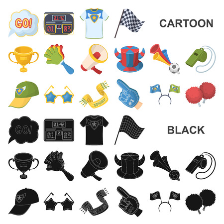 Fan and Attributes cartoon icons in set collection for design. Sports Fan vector symbol stock illustration.