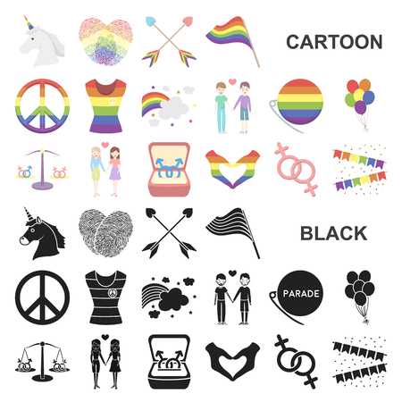 Gay and cartoon icons in set collection for design.Sexual minority and attributes vector symbol stock illustration.