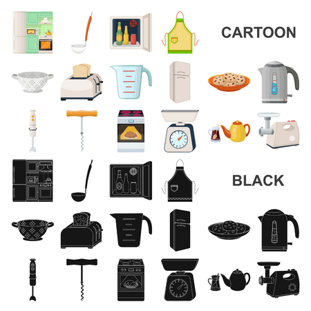 Kitchen equipment cartoon icons in set collection for design. Kitchen and accessories vector symbol stock  illustration. Vettoriali