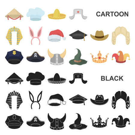 Different kinds of hats cartoon icons in set collection for design.Headdress vector symbol stock  illustration. Banque d'images - 110263692