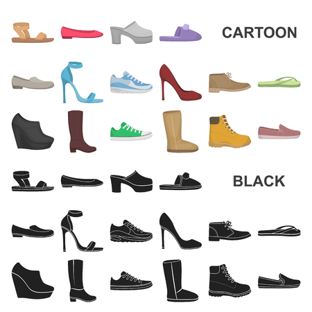 A variety of shoes cartoon icons in set collection for design. Boot, sneakers vector symbol stock web illustration.
