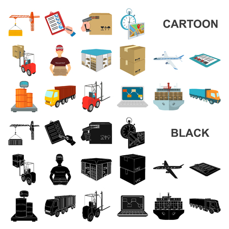Logistics and delivery cartoon icons in set collection for design. Transport and equipment isometric vector symbol stock web illustration.