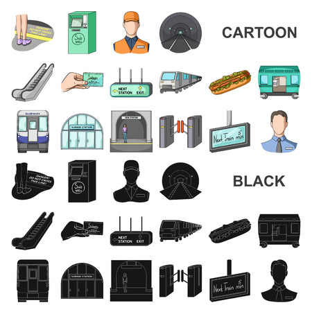 Metro, subway cartoon icons in set collection for design.Urban transport vector symbol stock web illustration. Illustration